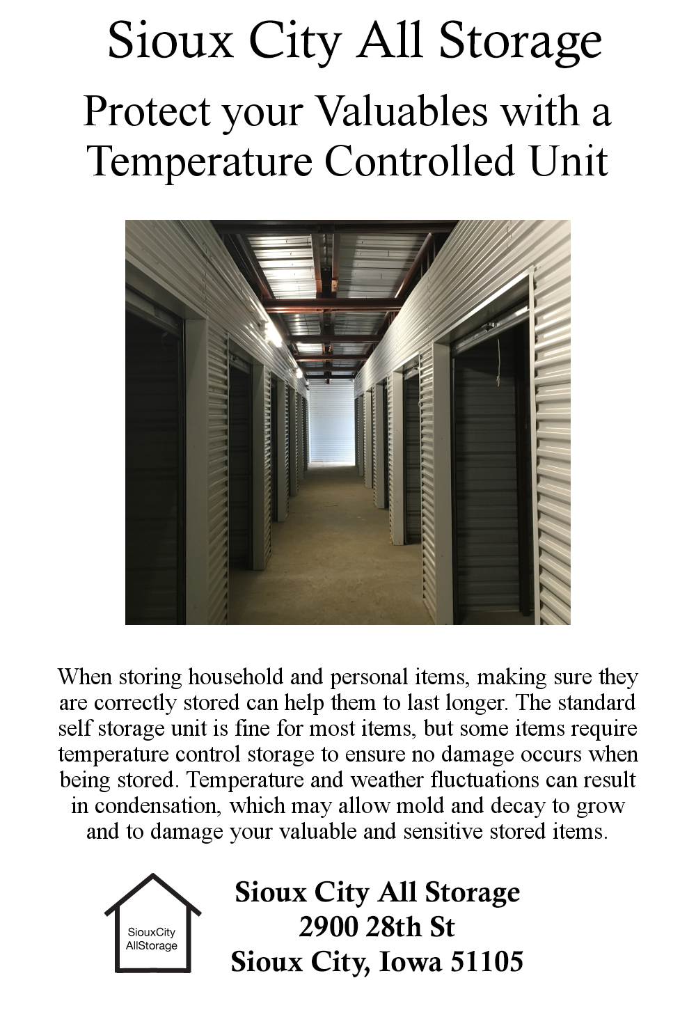 Sioux City All Storage Size Temperature Controlled Map Tel 712 277 4693